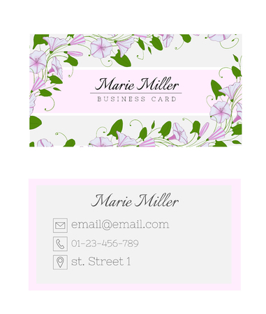 Floral business card template. Elegant feminine design with flowers binweed and convolvulus. Pastel color Ilustração