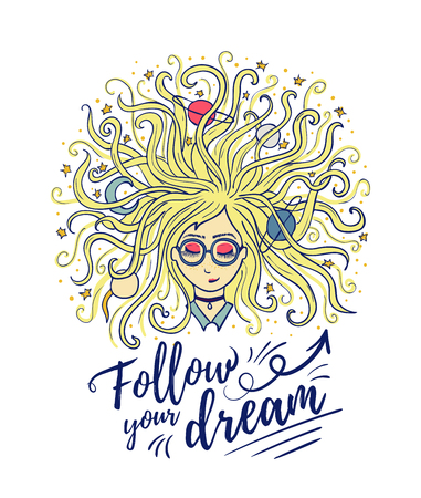 Dreamer. The girl dreams with closed eyes. The blonde hair of the planet and the star. Creative process or meditation. quote Follow your dream. Vector