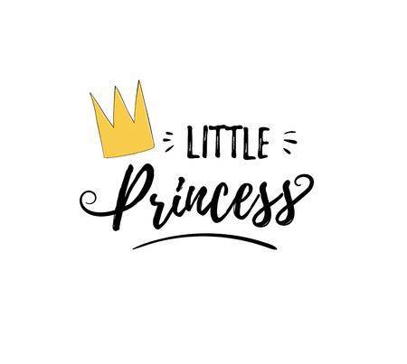 Phrase Little Princess. Cute girly sticker with lettering and crown for print. Design for kid