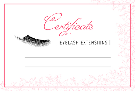 Diploma eyelash extensions. Makeup certificate template. beauty school or refresher courses for beautician. Make up cosmetic. Modern design