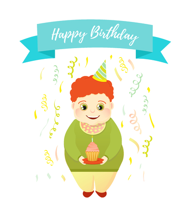 Happy Birthday greeting card. Red-haired boy in a serpentine holds a cake and blows out the candle Banco de Imagens - 109661282