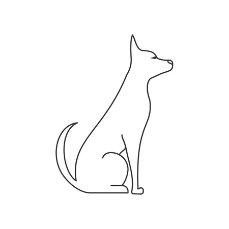 dog side view linear illustration. Pets and grooming. puppy sitting