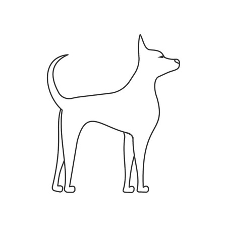 dog side view linear illustration. Pets and grooming. puppy standing