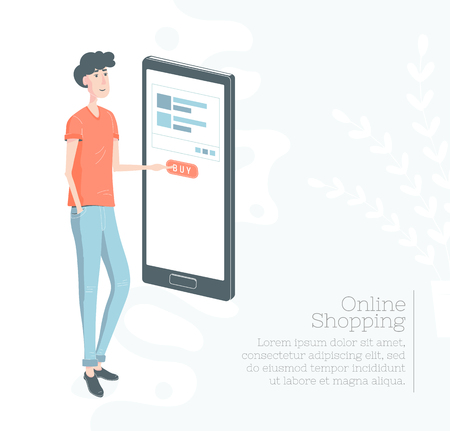 Online shopping . Guy buy through the Mobile Phone. m-commerc and e-commerce concept. Design template. Internet shop Illustration