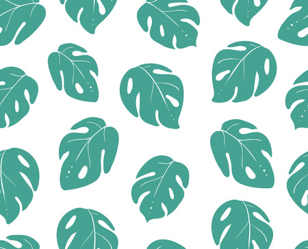 monstera leaves seamless pattern. background tropical plant leaf. Vector