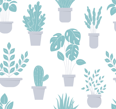 House plant seamless pattern. Flowerpot background. For textile. Vector