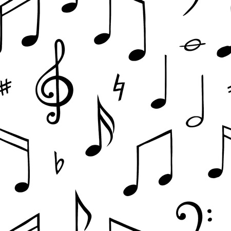 Music note seamless pattern. Black and white illustration. Vector Illustration