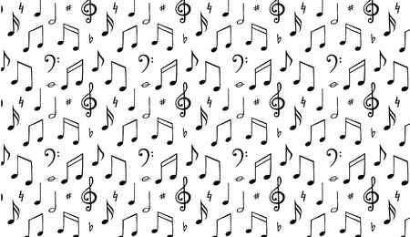 Music notes background. Melody symbol. Black and wite vector llustration