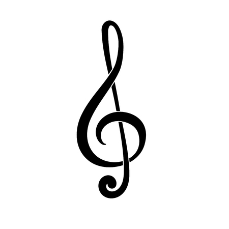 Treble clef. G Key. Symbol of music. Black icon Illustration
