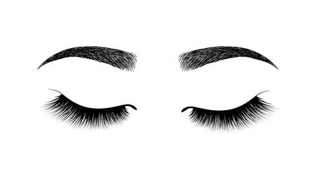sourcil parfaitement formé. maquillage permanent et tatouage. Cosmétique pour les sourcils. Extension de cils. Un beau maquillage. Cils épais et duveteux. Mascara pour le volume et la longueur.