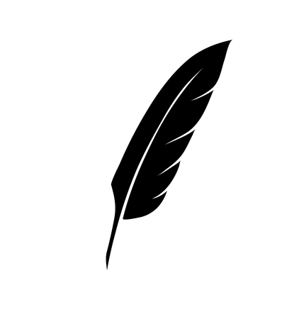 vintage pen feather writer symbol, literature icon, diary sign, black illustration, 스톡 콘텐츠 - 113858699