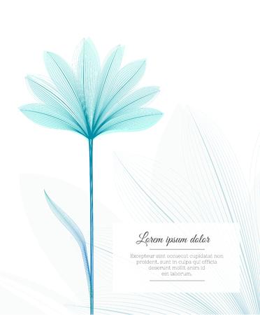 Modèle de conception florale. Effet de rayon X de fleur. Carte de voeux ou flyer publicitaire. vecteur Vecteurs