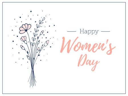 Frau Tag Vorlage Geschenkkarte. . Handgezeichneter Strauß Wildblumen. Leichte und zarte Blumenvektorillustration Vektorgrafik