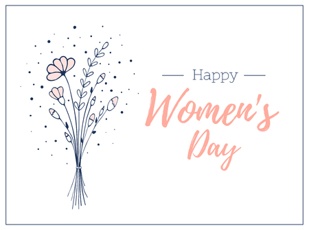 woman day template gift card. . Hand drawn bouquet of wildflowers. Light and delicate flower vector illustration Vektoros illusztráció