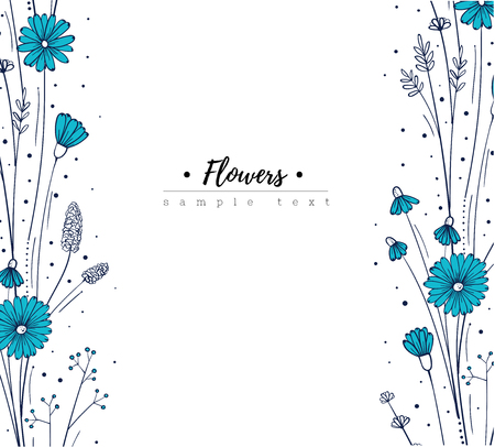 Floral design template. Doodle wildflowers. Blue flower frame. Vector illustartion