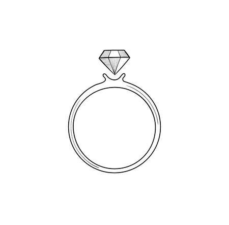 Ring with brilliant. Jewel with gemstone. Diamond icon
