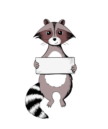 Raccoon holding a sign. Wildlife animal. Vector illustration with place for text Ilustração