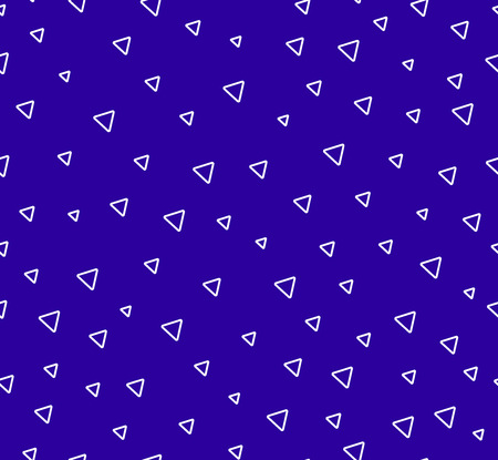 Triangles abctract seamless pattern. Blue background with geometric shape.