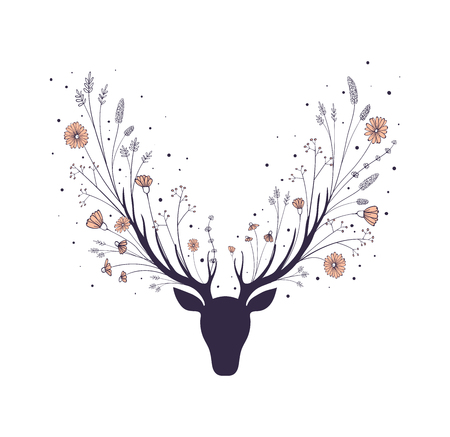 Flowers in the horns of a deer. Silhouette of the head of a forest animal.