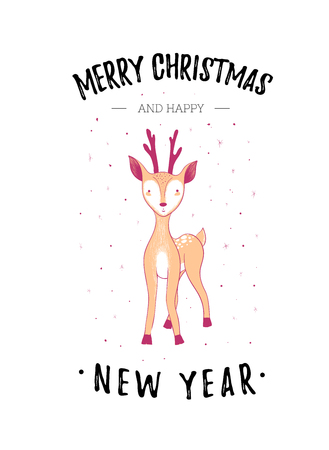 Merry Christmas and happy New Year greeting card. Cute baby deer. Vector