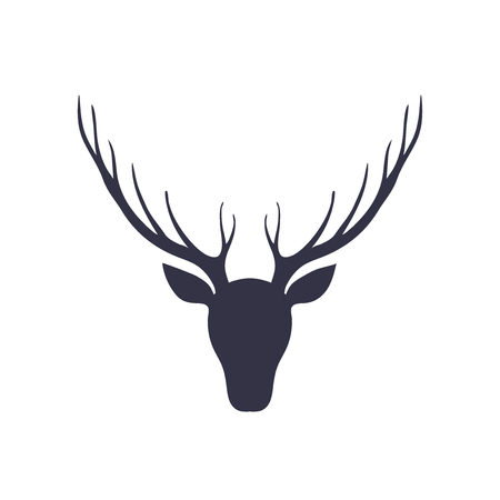 Silhouette of a deer head. Forest animals. Isolated
