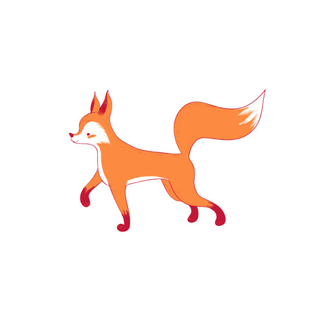 Cute standing fox in cartoon style. Isolated illustration forest animal. Vector
