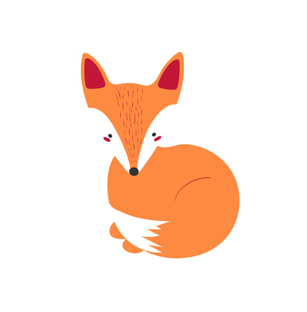 Cute sitting fox in modern simple style. Isolated illustration forest animal. Vector