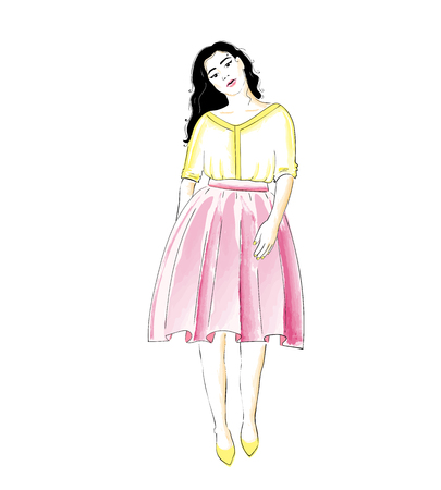 Fashion girl in a skirt and blouse or dress. Classic feminine style wardrobe. Vector Ilustração