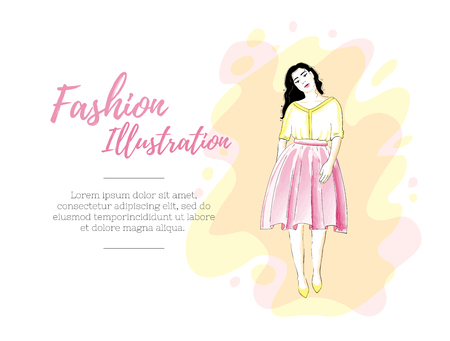Fashion girl in a skirt and blouse or dress. Classic feminine style wardrobe. Beauty design template.