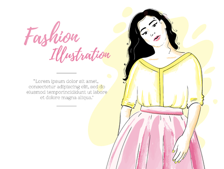 Fashion girl in a skirt and blouse or dress. Classic feminine style wardrobe. Beauty design template. Watercolor imitation 일러스트