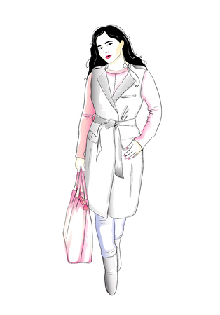 Fashion woman wearing a coat, sweater and jeans, holding a bag. Autumn feminine style wardrobe. Vector