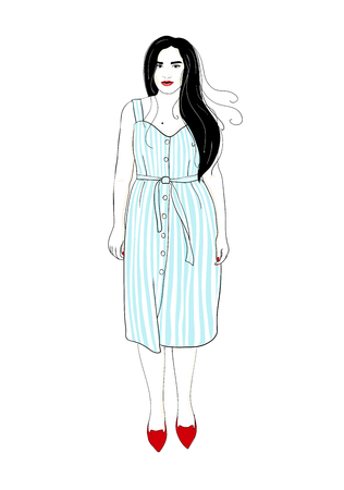 Fashion girl in striped sundress. Summer feminine style wardrobe. Elegant woman Ilustração