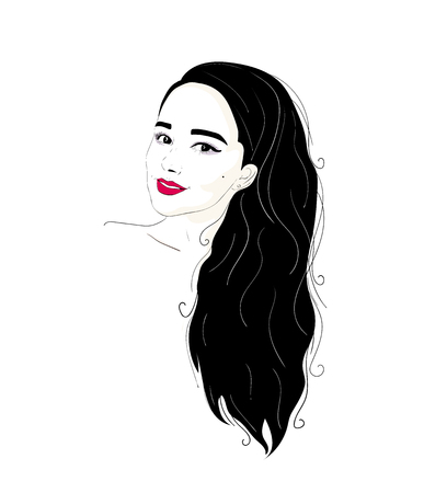 Fashion illustration of a brunette girl portrait with long hair and beautiful make-up.
