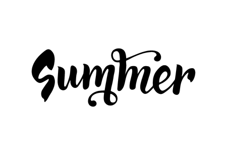 Summer handwritten lettering. Isolated hand draw text. Vector
