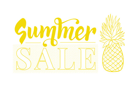 Summer sale design template with pineapple. Tropical vector banner Ilustração