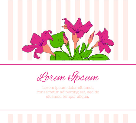Flower greeting card template. Floral romantic design. Vector Ilustração