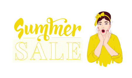 Summer sale design template . Pin up girl wow. Surprised woman. Portrait in retro style