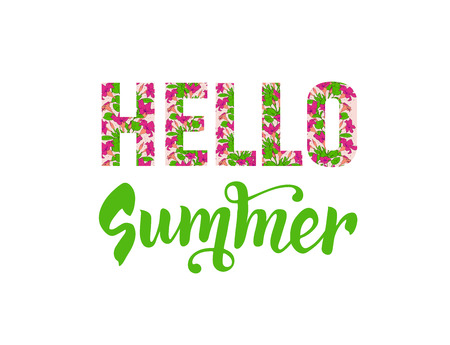 Hello summer lettering. Floral text. Isolated inscription with flower pattern. Vector Ilustração