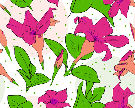 Flowers seamless pattern. Floral spring background. Summer wallpaper. Vector
