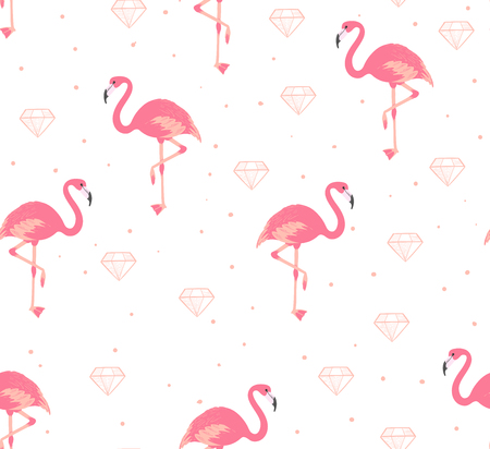 Flamingo and diamond seamless pattern. Cute pink ornament for fabric. Vector