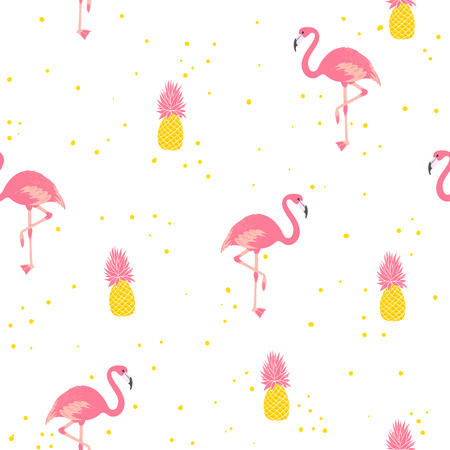 Flamingo and pineapple seamless pattern. Fun summer ornament for fabric. Vector