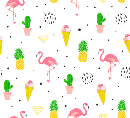 Flamingo seamless pattern. Summer background with diamonds, cactus and ice cream. Vector
