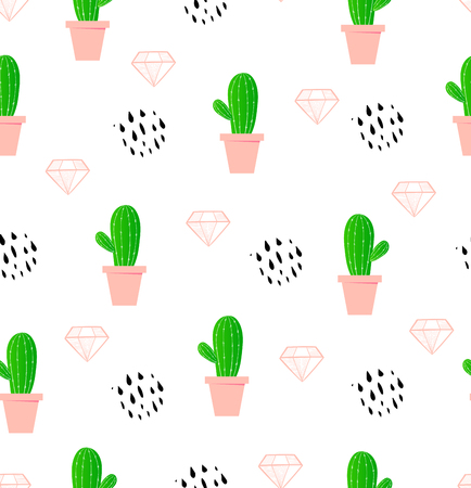 Cactus seamless pattern. Fun summer background. Trendy plant. Vector