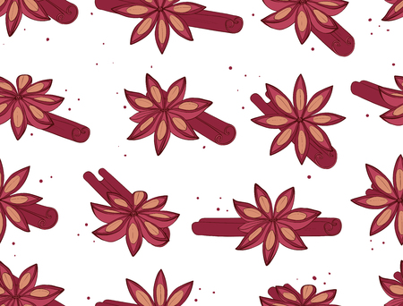 Cinnamon seamless pattern. Spices for baking background. Vector