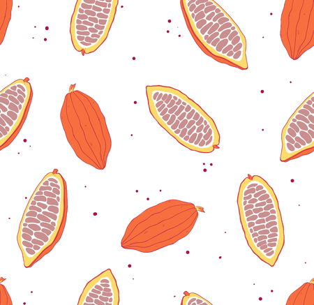 Cocoa seamless pattern. Tropical background. Chocolete bean Vector