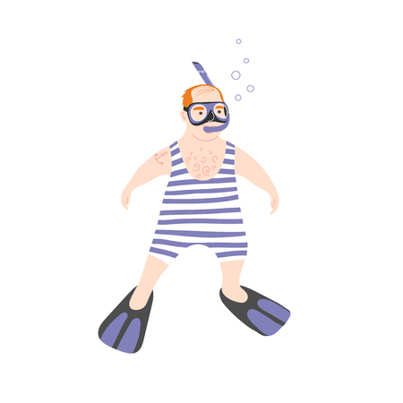 Snorkeling tour. Swimming in sea masked and snorkel. Funny character plump bald sailor. Vector Ilustração