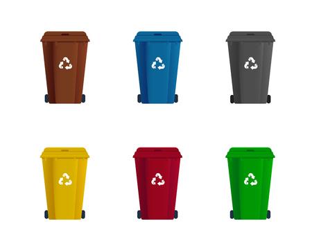 Juego de papelera. Clasificación de basura. Recicla desechos Ilustración de vector