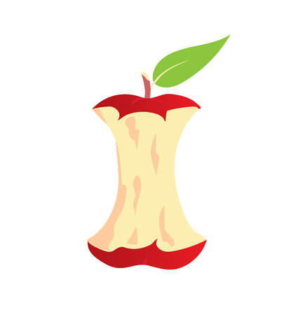 Apple core icon. Symbol of organic waste. Isolated Ilustração