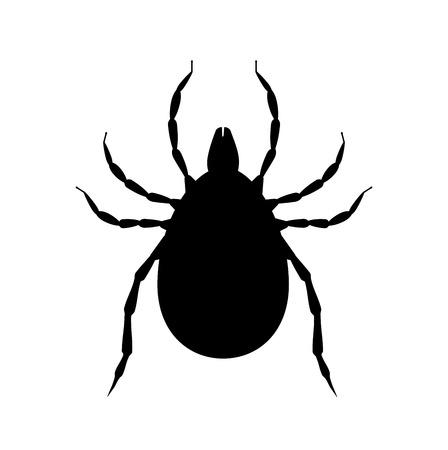 Milbe schwarze Silhouette. Schädlingsinsektensymbol. Insektizid-Symbol. Blutsaugendes Käfer Vektorgrafik