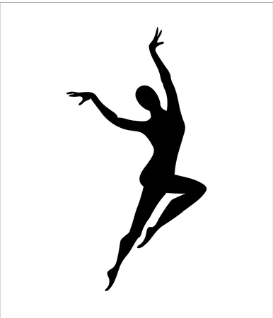 Dancer girl silhouette. Logo or icon for a dance school. Ilustração